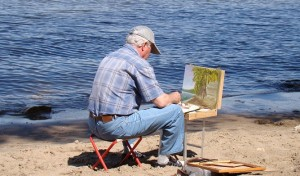 Outdoor painting with travel palette box