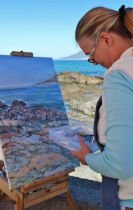 Plein air painting with palette
