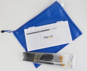 paintbrushes and palette set